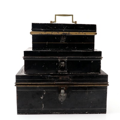 Victorian English Metal Cash Boxes, Mid to Late 19th Century
