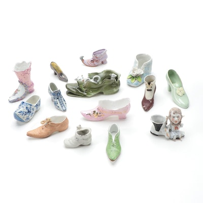 Porcelain, Bone China and Silver Plate Shoe Assortment