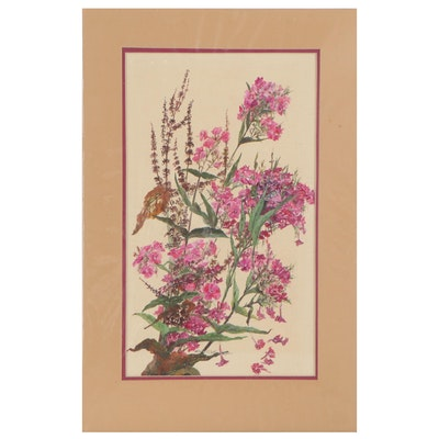 Floral Gouache Painting of Garden Phlox