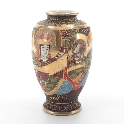 Japanese Satsuma Kannon and Rakan Porcelain Vase