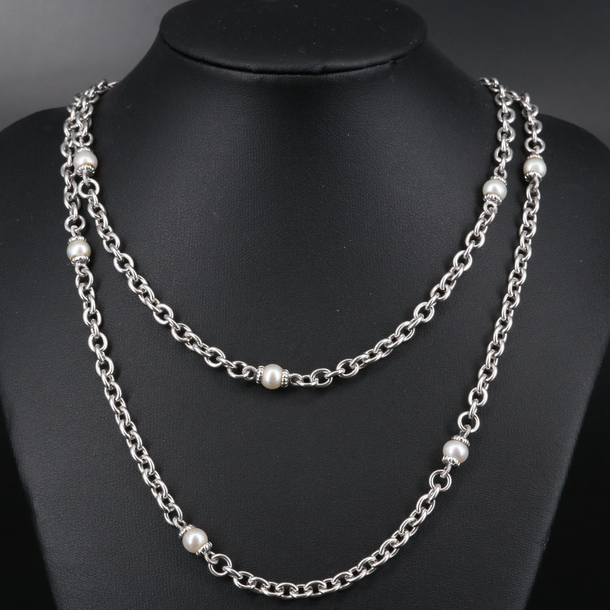 Judith Ripka Sterling Silver Pearl Station Necklace