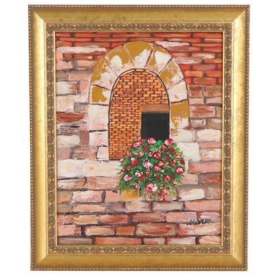 Oil Painting of a Brick Window with Flowers, 21st Century