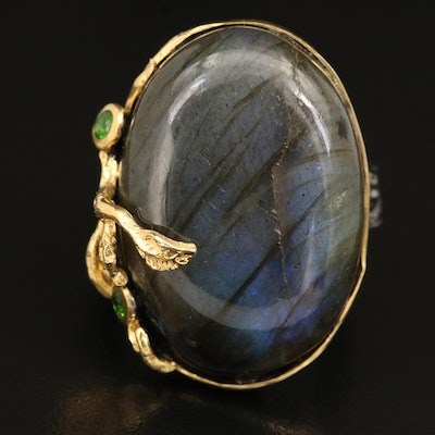 Sterling Labradorite and Diopside Ring