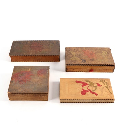 Art Nouveau Pyrographic Wooden Handkerchief Boxes, Early 20th Century