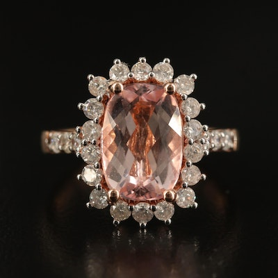 14K 3.00 CT Morganite and Diamond Ring