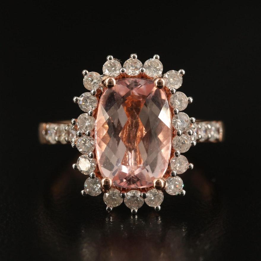 14K 3.00 CT Morganite and Diamond Ring