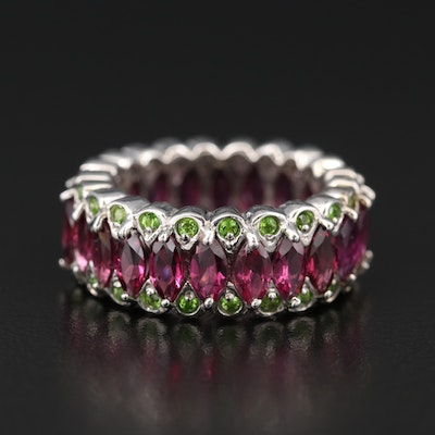 Stelring Garnet and Diopside Eternity Band
