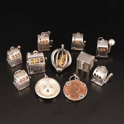Vintage Gambling Theme Charm Selection Including Lincoln Memorial Cent