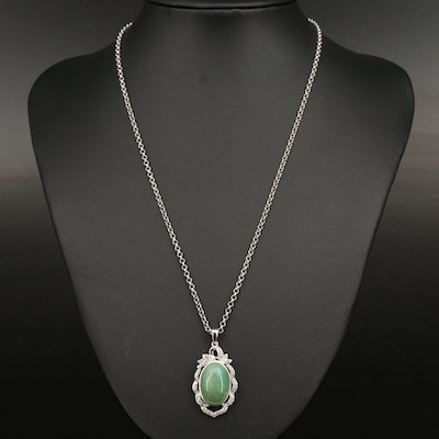 Sterling Green Beryl and White Sapphire Necklace