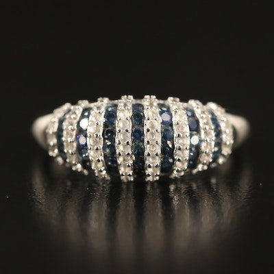 Sterling Sapphire Striped Dome Band
