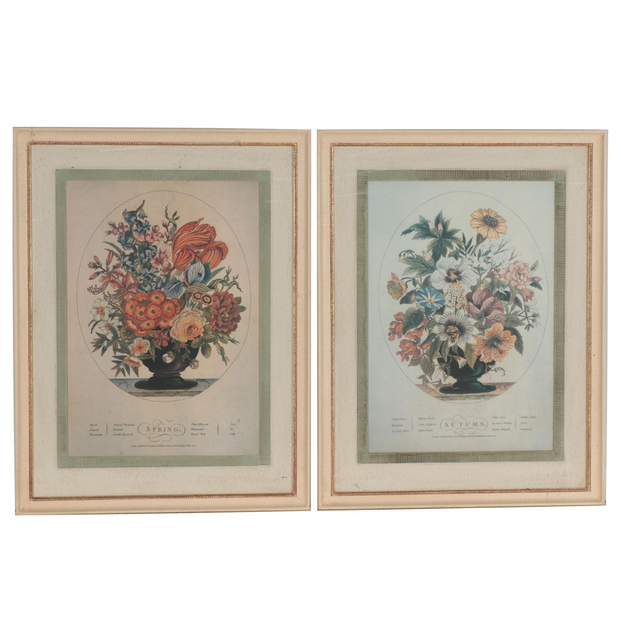 "Floral Offset Lithograph Illustrations ""Spring"" and ""Autumn"""