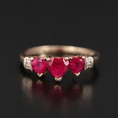 10K Ruby and Diamond Heart Ring