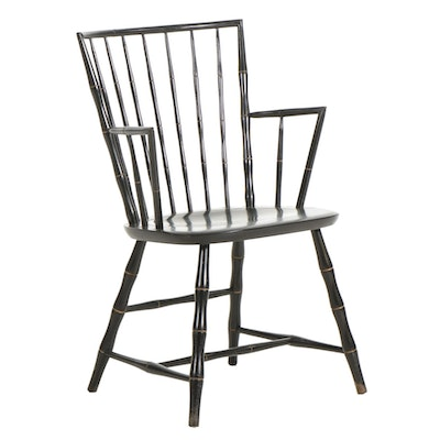 Nichols & Stone Windsor Style Ebonized Wood Armchair, Mid to Late 20th Century