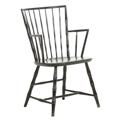 Nichols & Stone Windsor Style Ebonized Wood Armchair, Mid to Late 20th Century