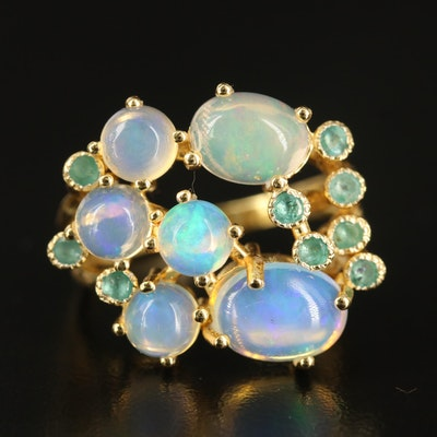 Sterling Opal and Emerald Openwork Ring