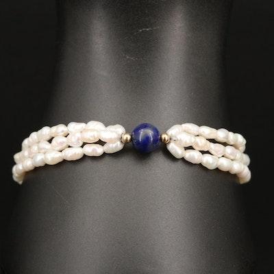 14K Pearl and Lapis Lazuli Multi-Strand Bracelet