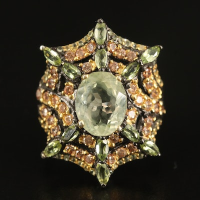 Sterling Heliodor, Peridot and Cubic Zirconia Web Ring