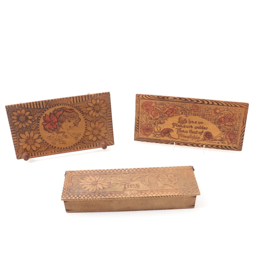 Pyrography Engraved Wall Art with Tie Box and Rack, Early 20th Century