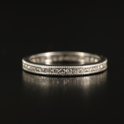 18K Diamond Channel Band with Milgrain Detail