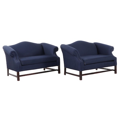 Pair of Camel-Back Loveseats