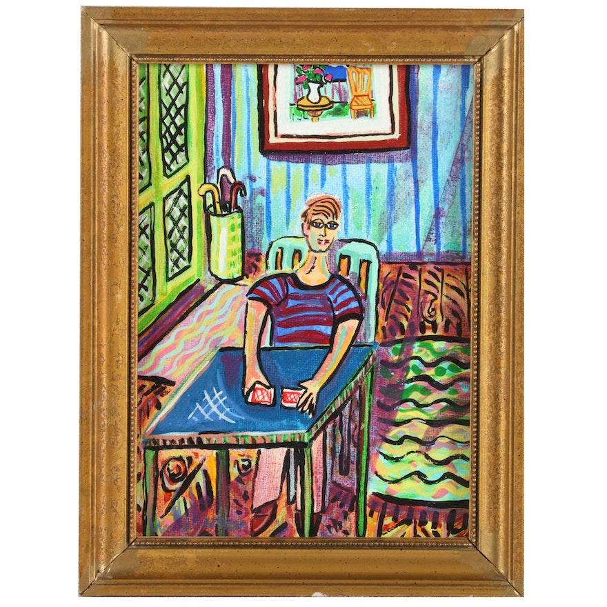 "Eric Lubkeman Acrylic Painting ""Shuffle,"" Late 20th-21st Century"