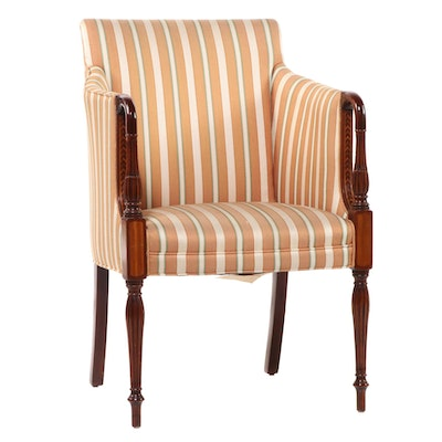 Southwood Federal Style Mahogany, Satinwood, and Chevron-Banded Armchair