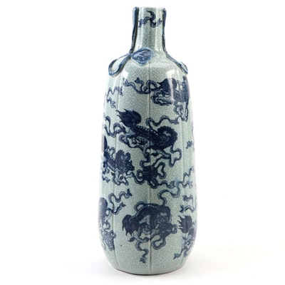 Chinese Celadon Glaze Guardian Lion Theme Gourd Vase