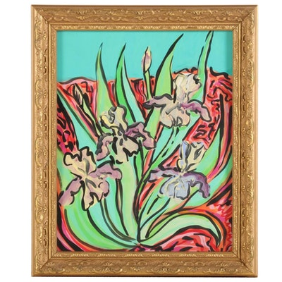 "Eric Lubkeman Acrylic Painting ""Irises,"" Late 20th-21st Century"