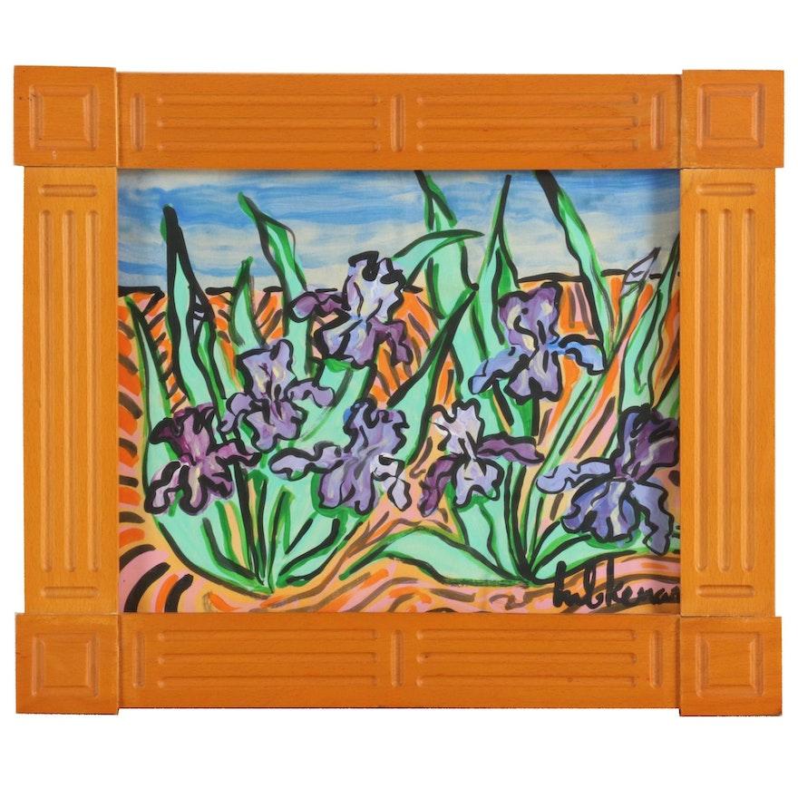 Eric Lubkeman Acrylic Painting of Irises