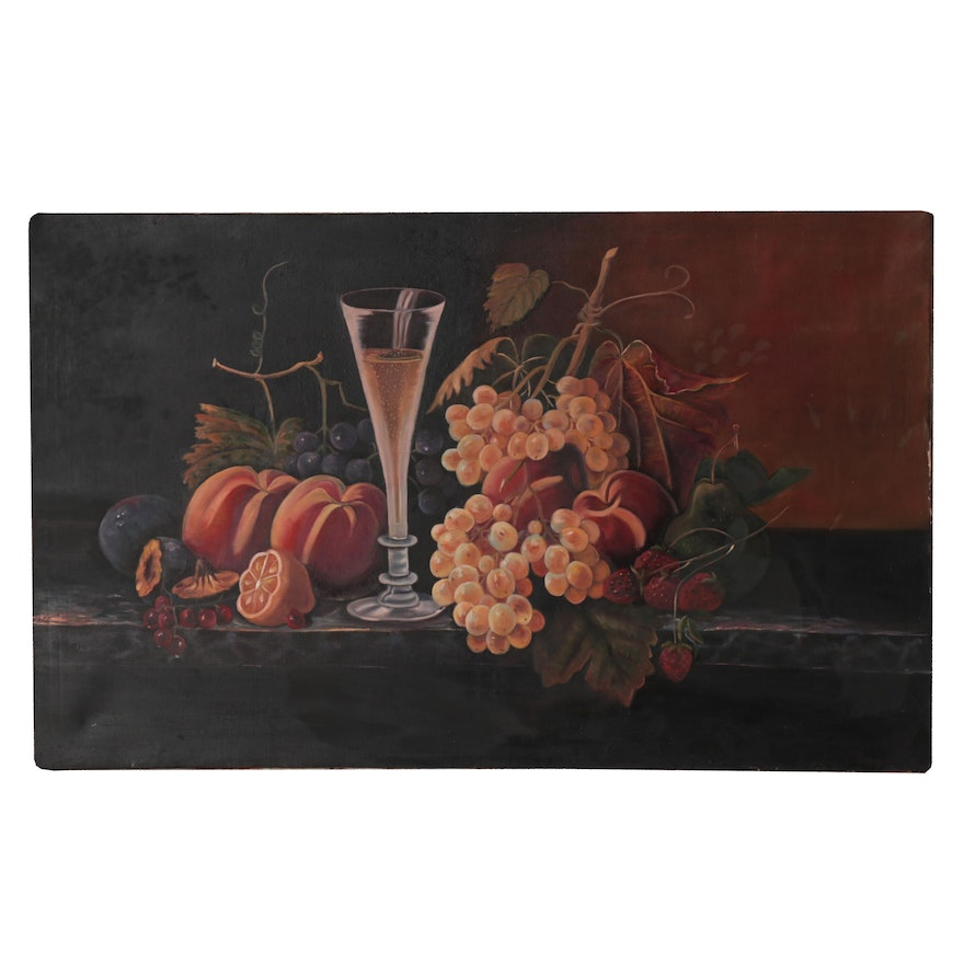 Still Life Oil Painting with Fruit and Wine, circa 2000