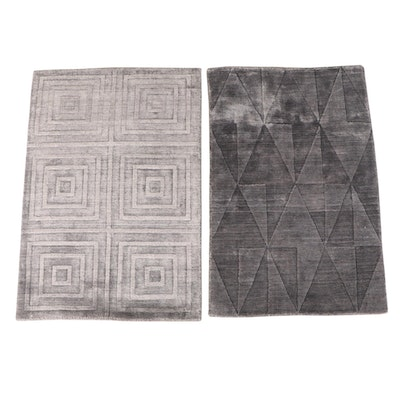 2'1 x 3' Hand-Knotted Indian Carved Pile Accent Rugs from The Rug Gallery