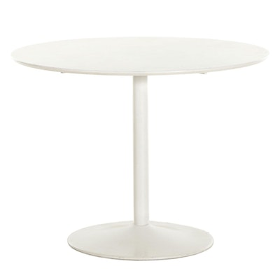 CB2 Contemporary White Round Pedestal Dining Table