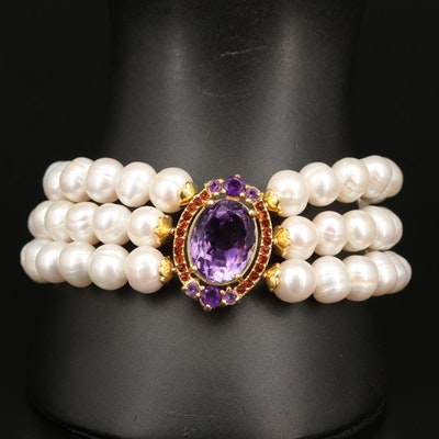 Sterling Pearl, Amethyst and Gemstone Triple Row Bracelet