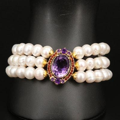 Sterling Pearl, Amethyst and Gemstone Triple Row Bracelet