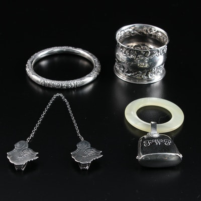 "Webster ""Tiny Tot Treasures"" Sterling Silver Bib Clips, Teething Ring, and More"