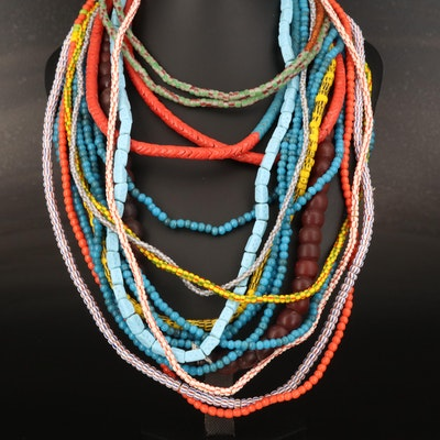 Trade Bead Necklaces Including Bohemian Stacked Snake, Blue Dice and Melon Beads