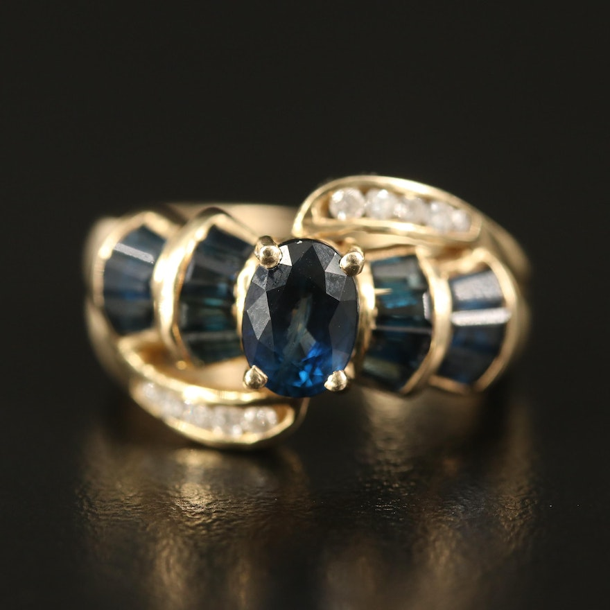 14K Sapphrie and Diamond Ring with 1.10 CT Center