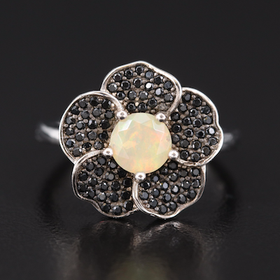 Sterling Opal and Black Spinel Flower Ring