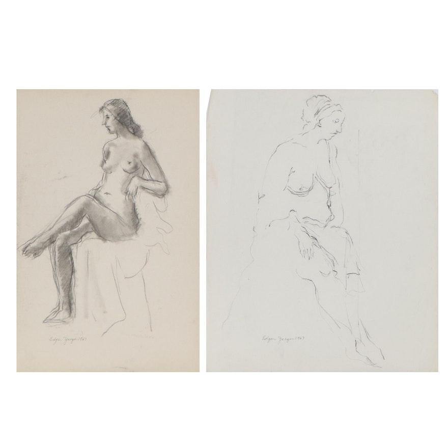 Edgar Yaeger Charcoal Drawings of Seated Women, 1967