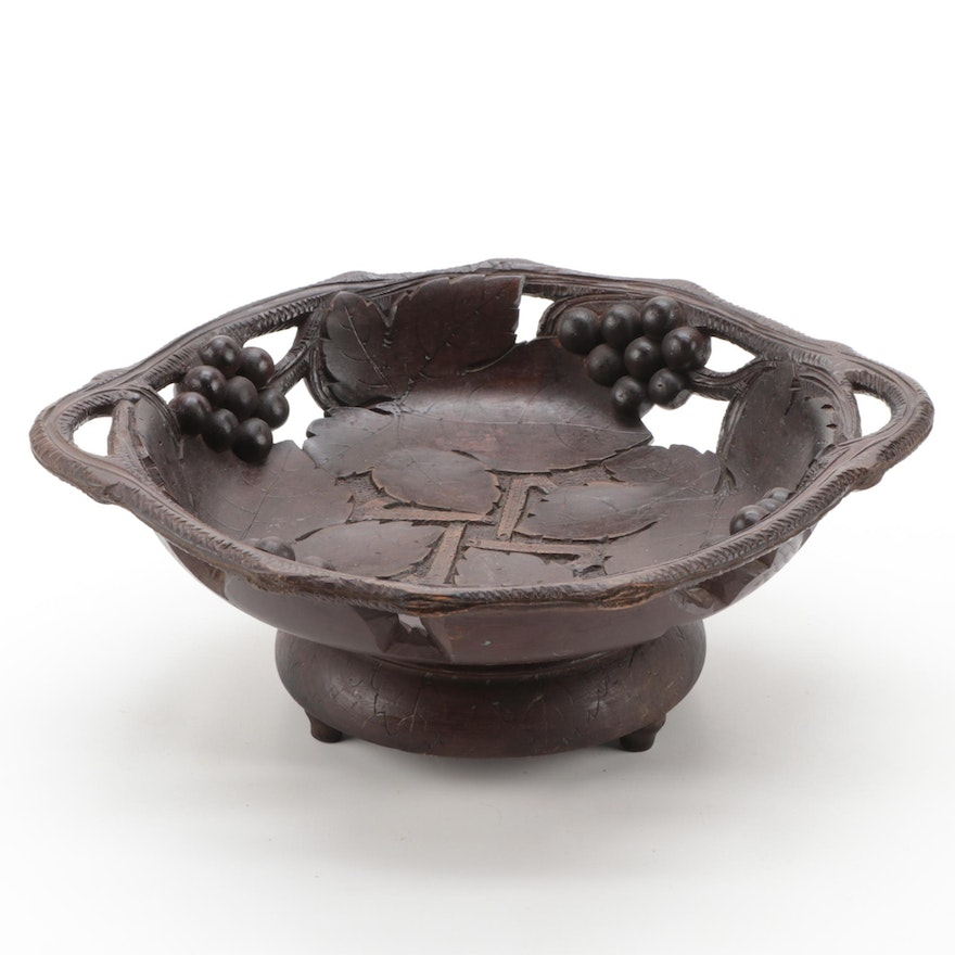 Hand-Carved Wooden Foliage and Grape Centerpiece Bowl Music Box, Mid-20th C.