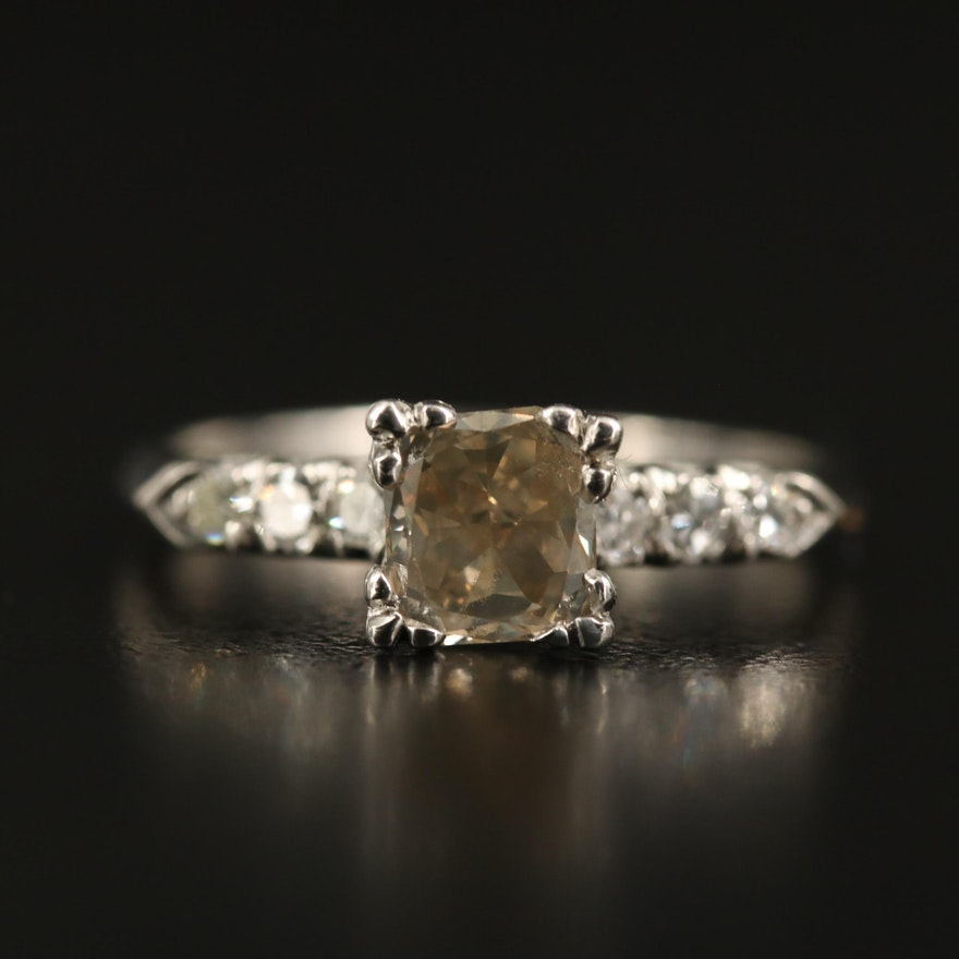 Platinum 1.18 CTW Diamond Ring with GIA Report
