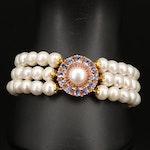 Sterling Pearl, Tanzanite and Ruby Triple Row Bracelet