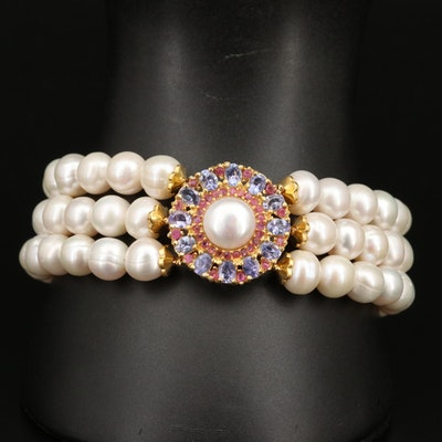 Sterling Pearl, Tanzanite and Ruby Triple Row Bracelet