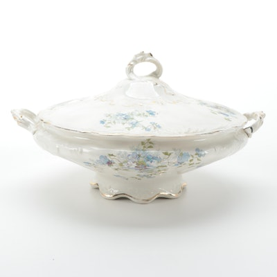 W.C. Co. Gilt Accented Ceramic Covered Dish, Early 20th Century