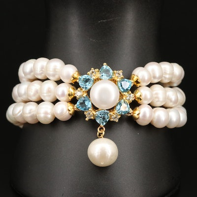 Sterling Pearl and Topaz Triple Row Bracelet
