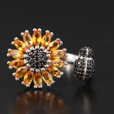 Sterling Citrine and Black Spinel Flower and Insect Open Shank Ring