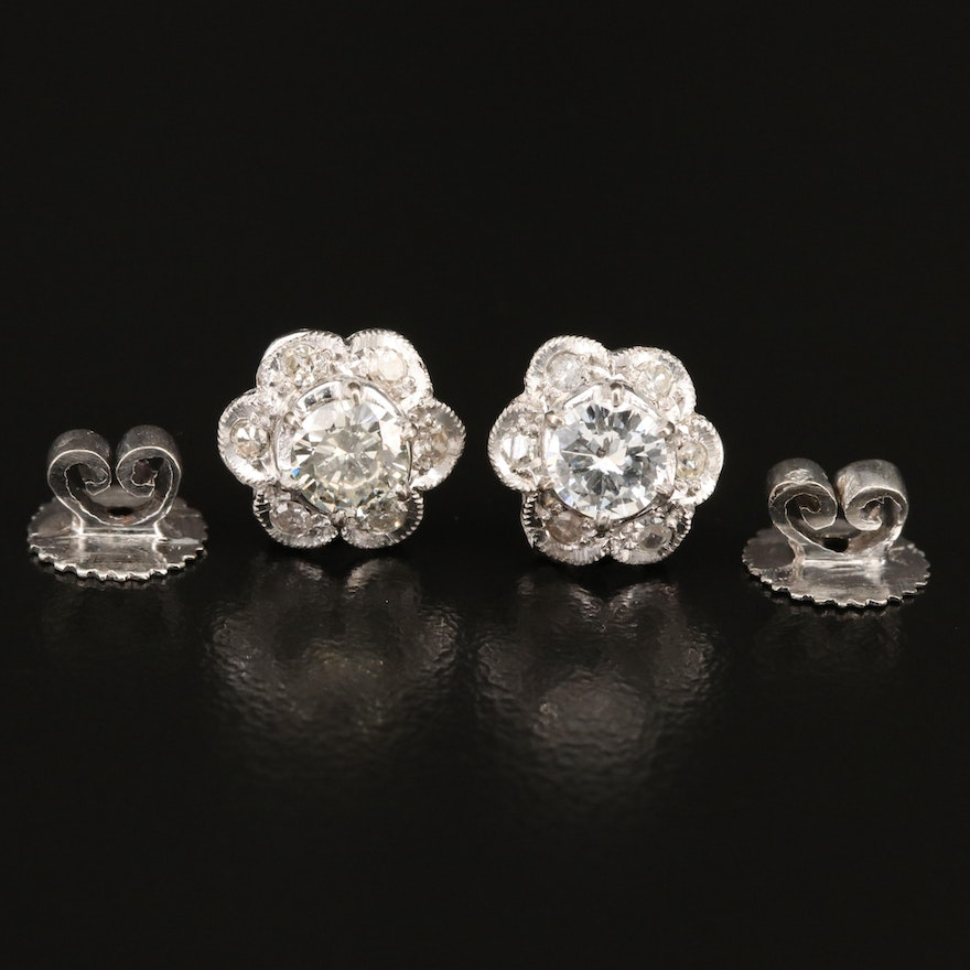 10K 1.10 CTW Diamond Earrings Made From Vintage Parts