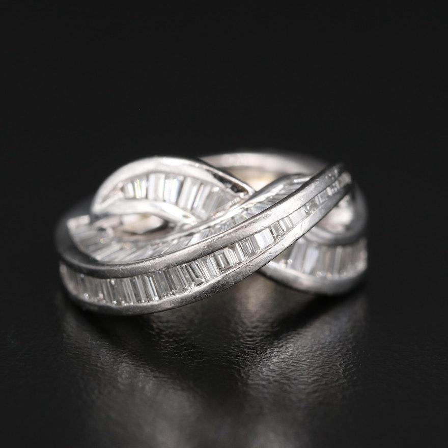 Platinum 6.00 CTW Diamond Crossover Ring