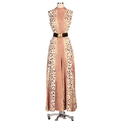 B. Cohen Original by Jaconelli Animal Print Sleeveless Jumpsuit with Velvet Belt