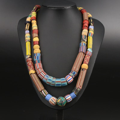 Trade Bead Necklaces Including King, Chevron Greenhearts and American Flag Beads